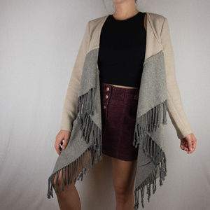 BB Dakota Candace Color Block Fringe Coat